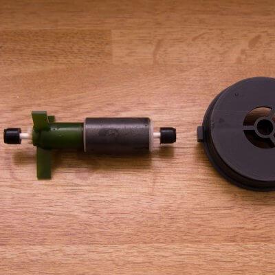 Afbeelding: aquarium potfilter rotoras met rubberen centreerdopjes