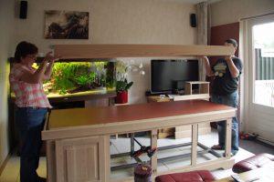 Show aquarium bouwen: Aquarium meubel in aanbouw