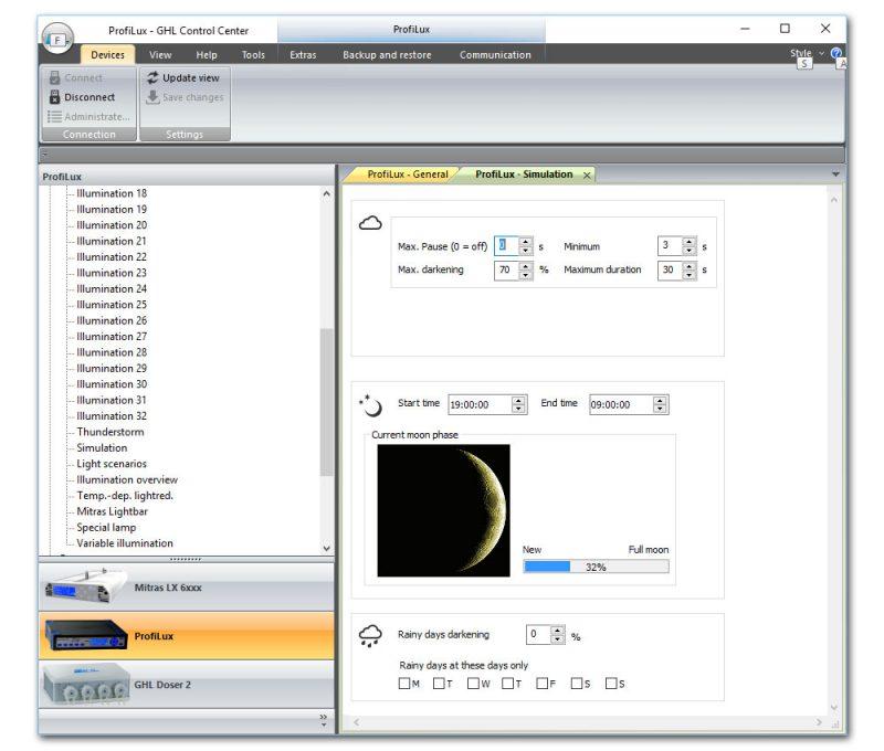 Bij de Profilux (aquarium computer) kan je de locatie opgeven waar het aquarium bevindt, de software rekent automatisch uit wat de maanstanden ter plekke moeten zijn. Je kan zelfs aangeven of er regenachtige dagen zijn en hoe hevig het wolken is.